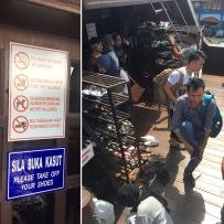 Przed wejściem do muzeum na łodzi obowiązywał nakaz zdjęcia butów
